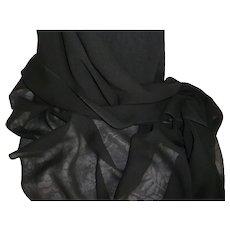 Beautiful quality black Lyon sheer silk fabric : unused still on original winder:  antique doll project : 36 inches