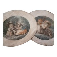 Charming pair of small old engravings : children : dog , cat & bird : attic find : doll projects