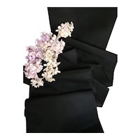 Old French black silk taffeta ribbon : antique doll projects : 79 inches long