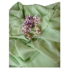 Vintage French pale green Lyon silk crepe fabric : unused : doll projects : 36 inches