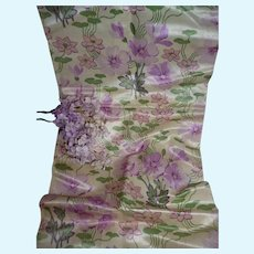 Fragment Art Nouveau printed silk satin fabric : floral motifs : doll projects : collection : 24 x 19 inches