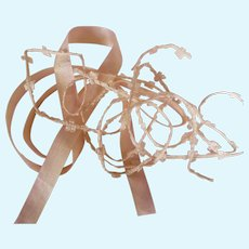 Collection cream & pink ombre Faveur ribbon & Ivory silk Rococo bow ribbon trim : 36 & 61 inches long