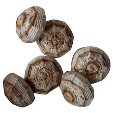 6 beautiful old French silk passementerie buttons : antique doll projects