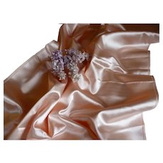 Shimmering vintage French Lyon peach satin fabric : unused : doll's projects : 18 inches