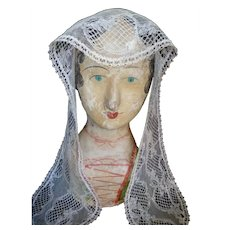 Pretty antique hand made ecru colored ladies lace flat cap : re-working doll projects