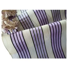 Superb old French translucent ribbon : lilac, violet , black ivory silk stripes : antique doll projects : 33 x 7 1/4 inches