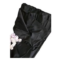 Superb quality black silk fabric with soft grosgrain borders : fashion doll costume projects : 36 inches