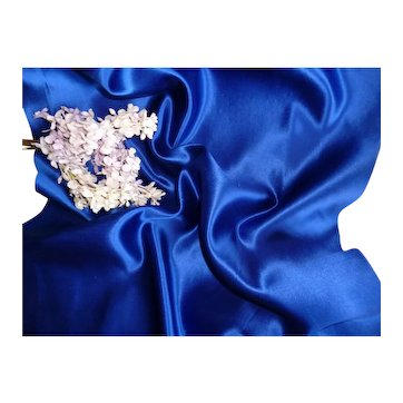 Morceau old French royal blue satin fabric : unused : fashion doll costume projects :  20 1/2 x 15 inches
