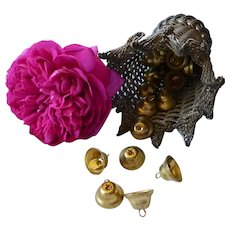 Set of 5 small  gold metal bell shaped tinkle bells : doll & toy projects :  1/2 inch high