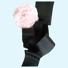 7 Yards delicious black silk ribbon : soft texture : antique doll projects
