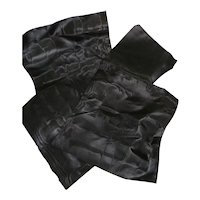 4 antique French black watered silk ribbon samples : unused : doll projects