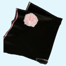 Large panel quality black silk satin : recuperated antique ladies skirt :doll projects