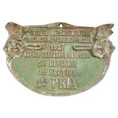 Decorative French green agricultural horse show plaque : 1st prize : Foire de Caen : dated 1927 ( no. 1 )