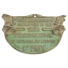 Decorative old French agricultural show plaque : horse : 1 st prize : dated 1934  ( no. 2 )