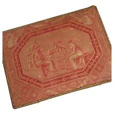 French Faded grandeur toile fabric covered boudoir wooden box : cherubs :  classic scene : Louise : metallic trim