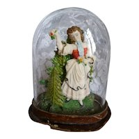 Charming 19th C. diorama under miniature dome : bucolic scene young girl :  3 3/4 inches high ( no. 1 )