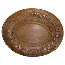Charming old French treen carved wooden plate or platter : Give us our daily bread :  13 1/2 inches diameter