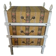 Charming antique  French small commode : chest of drawers : fabric covered boxes : sewing : doll accessory : 14 inches high