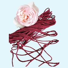 3 Yards delicious old French narrow raspberry red round twisted trim : unused : antique doll costume projects