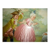 Charming antique French chromo : bucolic scene children : 18th century style :  silk clothing : doll projects