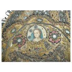 Rare 18th C. devotional metallic & silk  thread needle work embroidery medallion : Virgin Mary : Madonna