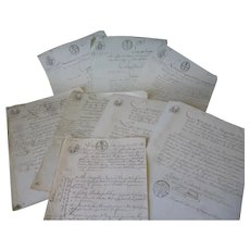 Superb batch tactile French ephemera documents : hand made paper, script, official stamps water marks : 1813, 1818 1820's