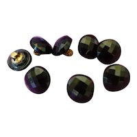 8 pretty 19th C. French black faceted glass buttons : 5 /16th inch diameter : fashion doll costume projects