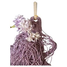 Rare skein lilac narrow soft coiled cannetille wire ; 1/16th inch wide :old factory stock : antique doll projects