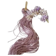 Rare skein pink -lilac fine coiled cannetille metal wire trim : 1/16th inch : old French factory stock : doll , toy projects
