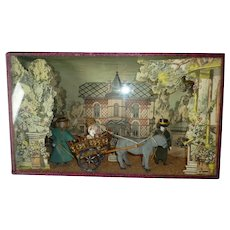 Charming antique French mignonette doll diorama box : donkey carriage ride Deauville manoir parc