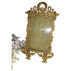 Superb antique French bronze photo frame : angels , floral garlands, swags, ribbon bows & laurel wreath