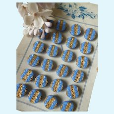 Set of 6 old French blue tiny opaline buttons with gold decoration : 3/8th inch diameter : antique doll costume projects