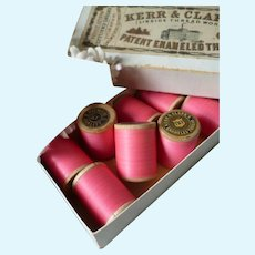 Kerr & Clark's of Paisley Scotland spools rose pink old patent enameled  cotton thread : antique doll projects : 2 spools