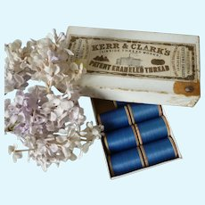 Kerr & Clark's of Paisley Scotland spools Napoleon blue old patent enameled  cotton thread : antique doll projects : 2 spools