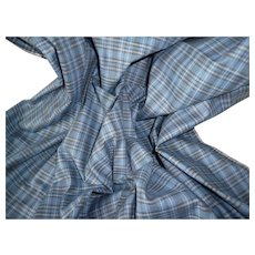 Vintage French blue , grey & white check cotton fabric , circa 1950's : unused : doll projects : 18 x 39 inches
