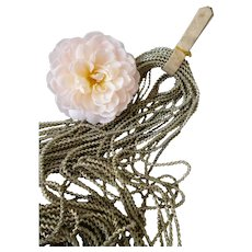 Skein decorative silver colored spiral cannetille metal wires : unused : old French factory stock : doll & toy projects