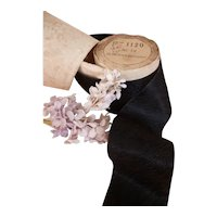 Delicious antique French black crepe silk ribbon : unused : doll projects : 114 x 2 1/8th inches