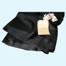 Fine quality French black silk mix fabric with grosgrain borders : unused : circa 1900 : doll projects : 36 inches