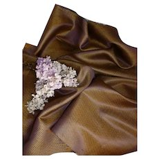 Large morceau shimmering antique French mauve & gold shot silk fabric : tiny motifs : fashion doll projects