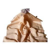 Morceau old French Lyon salmon colored silk fabric : toning narrow silk ribbon : doll projects