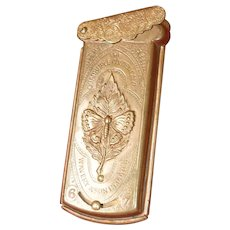 19th C. Avery Quadruple golden casket needle case  with a butterfly on leaf motif : 2 7/8th x 1 1/4 inches