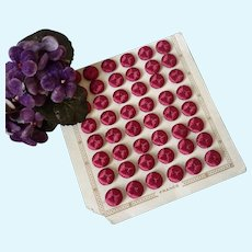 Set of 6 delicious old French claret red silk buttons : unused : Jumeau doll costume projects