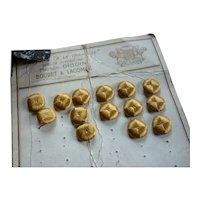 14 delicious old French old gold silk buttons on original card : antique doll clothing projects