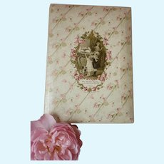 Charming antique French Au Bebe Rose box : medallion young girls & dog : Bebe doll projects