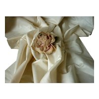 Morceau of old French cream satin fabric : herringbone motif : Jumeau Bebe doll clothing projects
