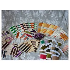 73 cards old French silk threads : mixed colors : doll sewing projects