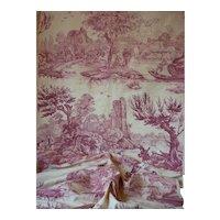 Delicious old French cream & claret toile fabric : Pecheurs & Lavandieres : unused :  136 inches