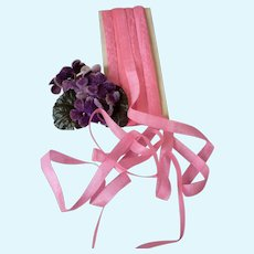 5 yards of old French candy pink narrow Faveur silk ribbon : unused : Jumeau doll sewing projects