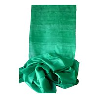 Delicious light weight Emerald green silk pongee fabric : circa 1900 : doll's clothing  : 36 inches