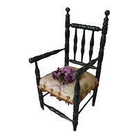 Decorative late 19th C. French doll's ebonized wooden chair : arm chair :  Jumeau : 14 1/4 inches high